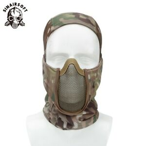 Tactical Balaclava Steel Mesh Face Mask Camo Full Hat Neck Scarf Airsoft Outdoor