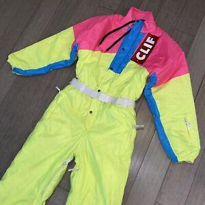 OOSC One Piece Ski Suit Snow Bib Snowsuit Neon Clif Bar retro apres Mens LARGE