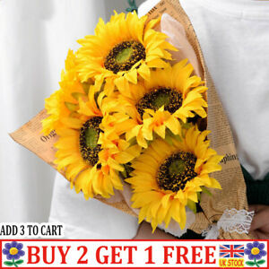 Artificial Silk Fake Sunflower Flowers Bouquet Hotel Plants Home Party Decor QN