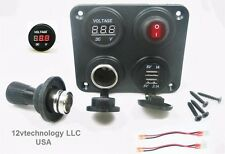 Red Dual USB Charger + Voltmeter +12V Socket + Switch 4 Hole Panel Marine Truck