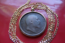 """Coin Pendant 24"""" Gold Filled Chain Pre 1910 Gold Filled Edwardian English Penny"""