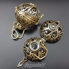 2X Antiqued Bronze Ball Jewelry Lockets Flower Vine Pendant Mexican Bola Bell