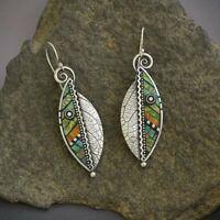 Boho Green Leaf Earrings Drop Dangle Hook Ethnic Abstract Women Jewellery Gifts