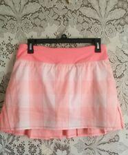 Lululemon Pace Setter Skirt Bleached Coral Pop Orange Plaid sz 6 TALL EUC
