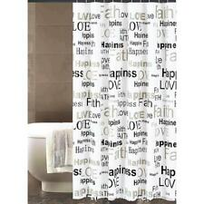 "Shower Curtain Black White Word Sentiments Happiness Love Faith Design 70"" x 72"""
