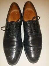 ALLEN EDMONDS Sanford Black Leather Cap Toe Brogue 11.5 A Narrow Black