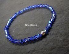 Azul Zafiro Cristal Plata Pulsera Elástica Regalo Diseñador Hecho a Mano
