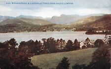LOWOOD UK WINDERMERE & LANGDALE PIKES PHOTOCHROM CELESQUE POSTCARD 1910s