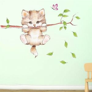 cute cat butterfly tree branch wall stickers kids room home decoration mural art
