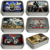 Personalised Motorbike Tobacco Tin 2oz Baccy Fathers Day Cigarette Birthday