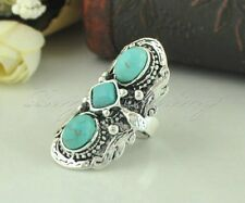 Vintage Three Tibetan Turquoise Stone Finger Ring Silver Carved Adjustable Ring