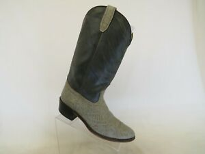 Gray Leather Bullhide Cowboy Western Boots Mens Size 9.5 D