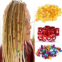 Lots 50pcs 8mm Dreadlock Beads Adjustable Women Hair Braid Rings Cuff Clips Tube