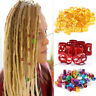 Lots 50pcs 8mm Dreadlock Beads Adjustable Women Hair Braid Rings Cuff Clips Tube