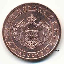 2 Cent Kursmünze Monaco 2001 original bankfrisch - sehr rar - wenig angeboten