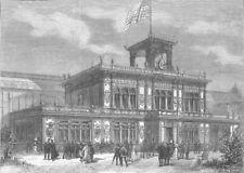 FRANCE. Paris Expo. US Building, Champ De Mars, antique print, 1878