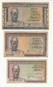 Guinea 3x circ. banknotes 1960 @ low start