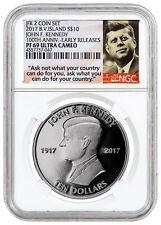 2017 Virgin Isl Kennedy From 2-Coin Set 1 oz Silver NGC PF69 UC ER SKU47845