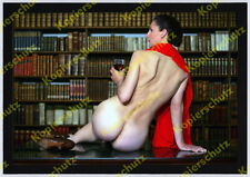 or Aktfoto Dame nackt Erotik Bohème Bücherzimmer Voyeur handsigniert num Barantl