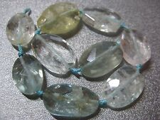 Chinese Aquamarine Faceted Oval Nuggets Beads 14pcs