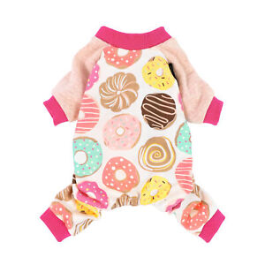 Fitwarm Donuts Pink Dog Clothes Pajamas Small Pet Jumpsuit for Girl Shirt Coat