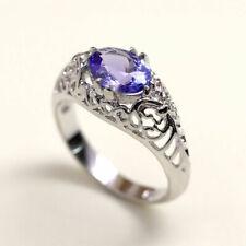 14K Solid Gold Wedding Ring Vintage Style Natural Tanzanite Engagement Ring