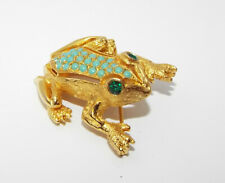 Vintage signed DeNicola faux turquoise green rhinestone FROG pin BROOCH figural