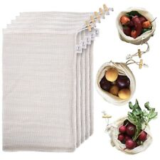 Ecodine Reuable Mesh Knit Organic Cotton Produce Grocery Bags Washable Set Of 5