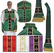 Catholic Green Fiddleback Chasuble Set  + Stole Maniple Burse Veil Latin Mass