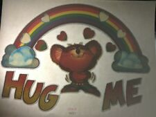 Rare Vintage Iron Heat Transfer Hug Me Mouse Rainbow Hearts Sparkly Multicolor