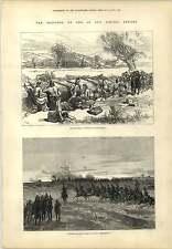 1877 Turchi in attesa del nemico prima BIELA sera ATTACCO INCISIONE MAPPA Kars