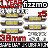 5x 38mm NUMBER PLATE INTERIOR 6000k BRIGHT WHITE 3 SMD LED C5W FESTOON BULB L@@K