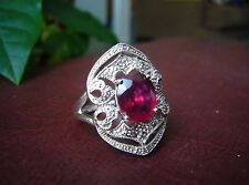 Rarities Carol Brodie Genuine Ruby & Diamond Sterling Silver Ring 7