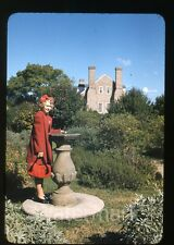 1941 red border kodachrome Photo slide Wakefield VA #1  Teen Girl
