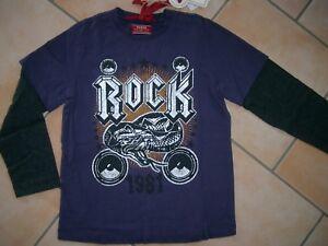 (T29) Cooles RARE-The Kid Boys 2in1 Optik Shirt + Logo & Rock Staff Druck gr.128