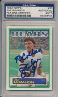 1983 Topps Football Jim McMahon Signed Rookie Card #33 PSA/DNA Auto To Colleen