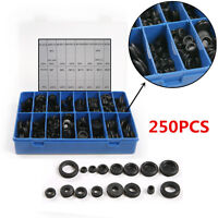 Car 250Pc Rubber Grommet Firewall Wiring Cable Gasket Assortment Case Set 18Size