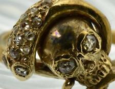 $9500 MUSEUM 18th C. Georgian Memento Mori Skull&Snake 18K Gold&Diamonds ring
