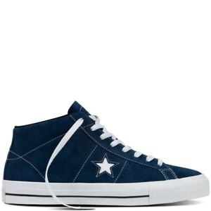 Converse Mens CONS One Star Mid Navy White Lace Up Suede Casual Active Trainers