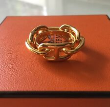 ANNEAU POUR FOULARD HERMES CHAINE D ANCRE METAL DORE BAGUE SCARF RING GOLD