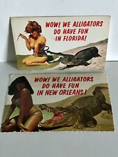 (2) Vtg Risque Girls W/Alligators Bettie Page New Orleans & Other From Florida