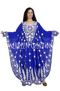 Get Exclusive Beautiful Bell Sleeve Blue Color Kaftans Farasha Abaya Party Dress
