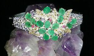 Genuine Natural Emerald, Ruby, Yellow Sapphire, Tanzanite Bracelet. Silver/14kt