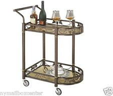 Tea Serving Bar Cart on Wheels & Glass shelves Antique Style Metal kitchen Cart