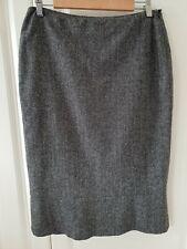 LK Bennett Skirt 12 Wool Blend Silk Fishtail Lined Work Grey