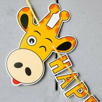 Giraffe Pig Cow Happy Birthday Print Party Flags Birthday Bunting Banner Decor S