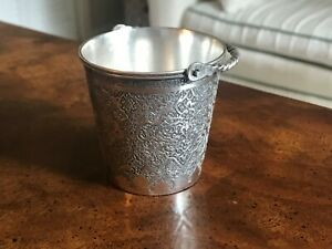 Solid Silver Islamic Qajar Persian Cup Artist signed 840 Hand Etched Engraved