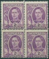 Australia 1948 SG230 2d bright purple KGVI block MNH