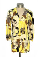 Anthropologie Tabitha Yellow Floral Oil Paints Cardigan Sweater Size Medium