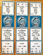 Florida Marlins Ticket Stub From June 11, 1993 vs Pittsburgh Pirates Inaugural